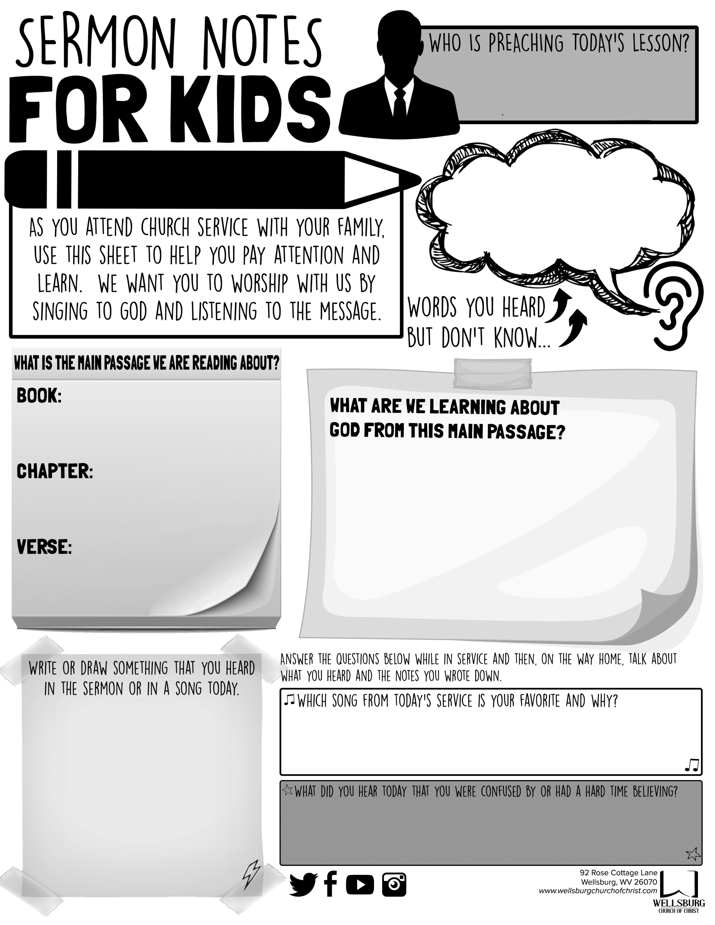 SERMON NOTES FOR KIDS (TEENAGER)