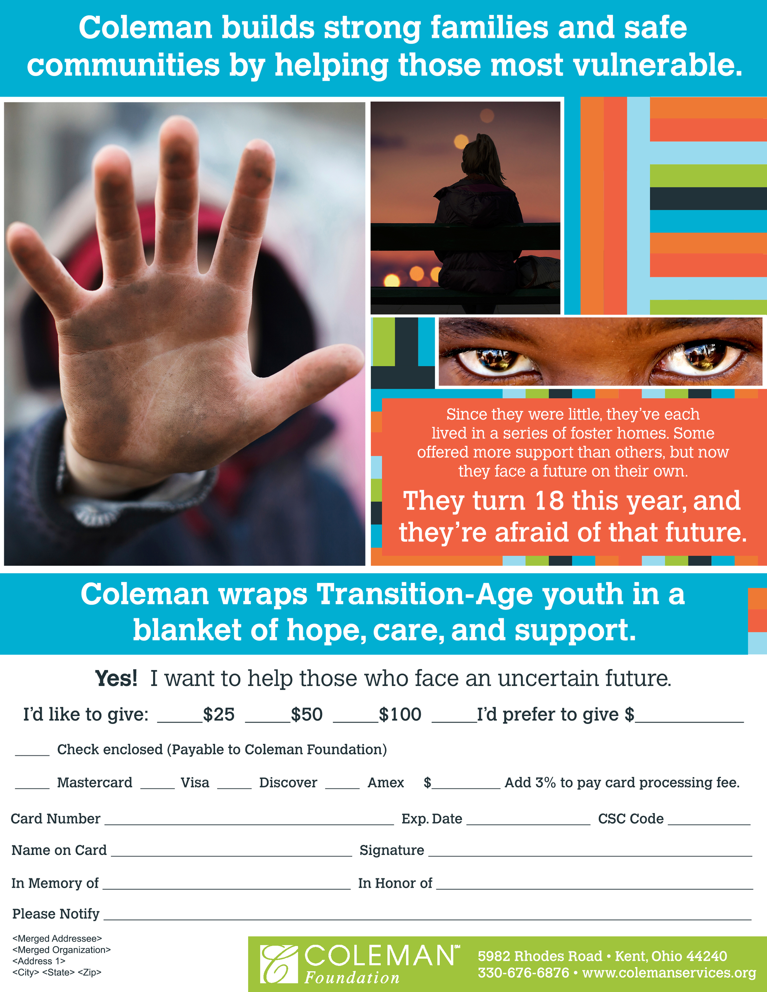 DONATION SHEET FOR THE COLEMAN FOUNDATION