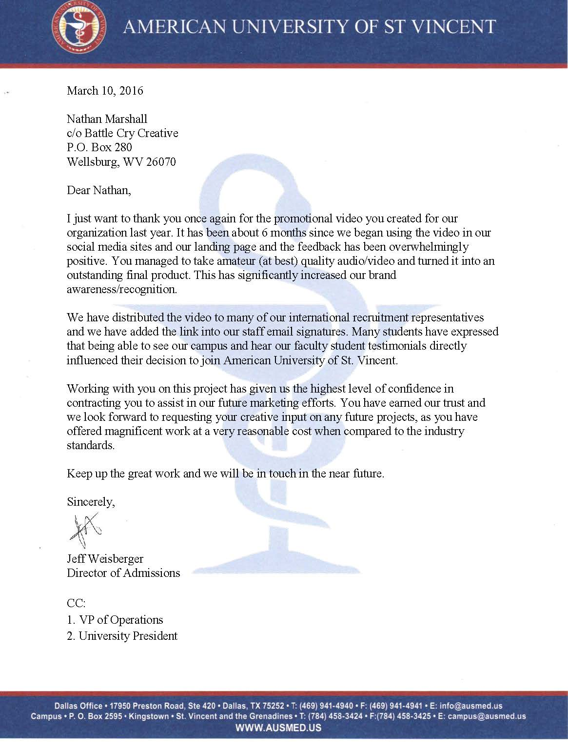 A LETTER OF APPRECIATION FROM THE UNIVERSITY