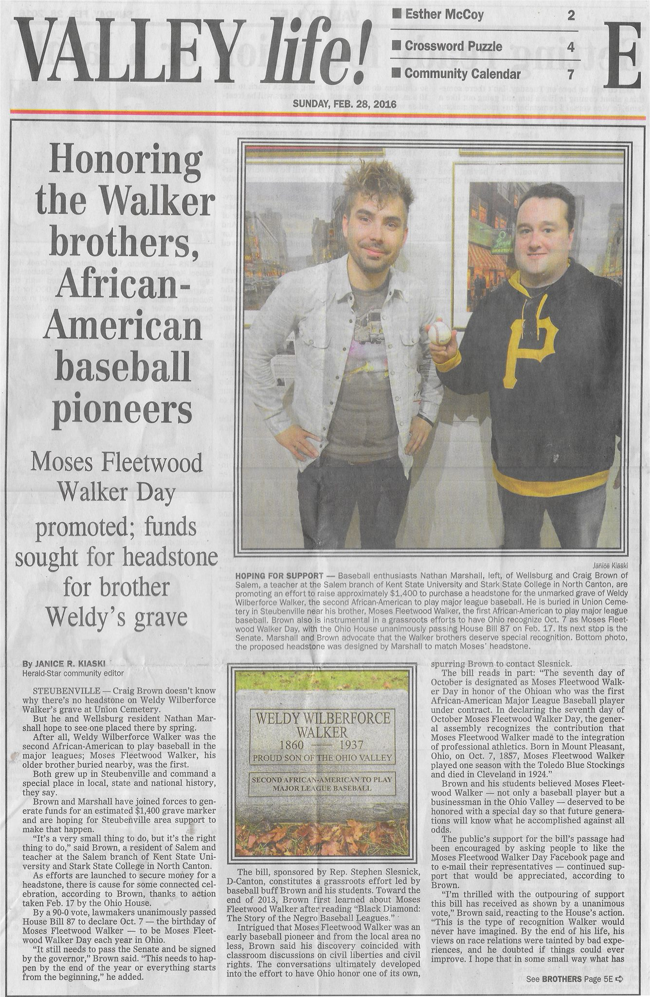 SOME PRESS ON THE WORK I DID TO GET THE WALKER BROTHERS (THE FIRST TWO AFRICAN-AMERICANS TO PLAY PROFESSIONAL BASEBALL) SOME MUCH NEEDED APPRECIATION