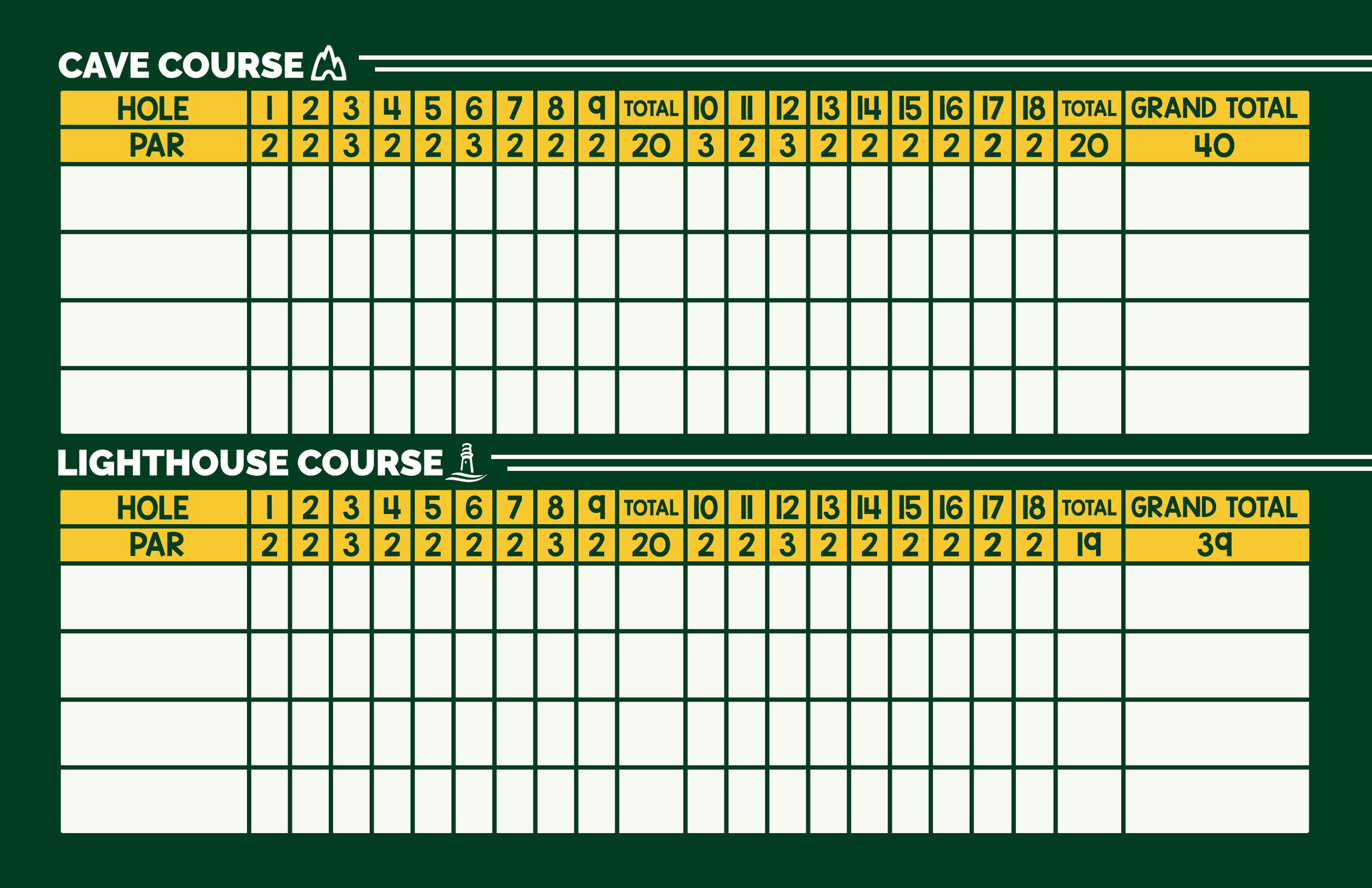 MINI GOLF <br> SCORECARD (BACK)