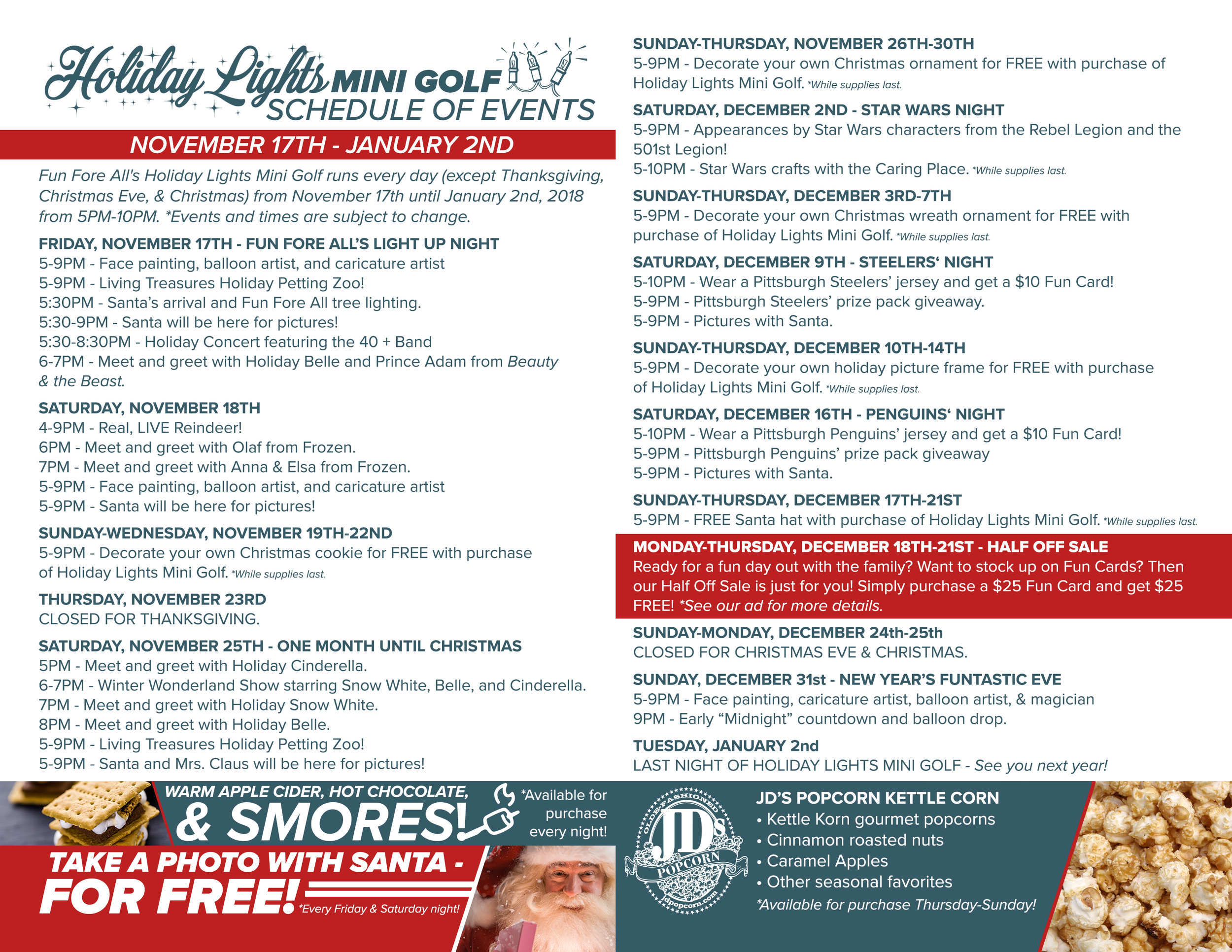 HOLIDAY LIGHTS  SCHEDULE - BACK (2017)