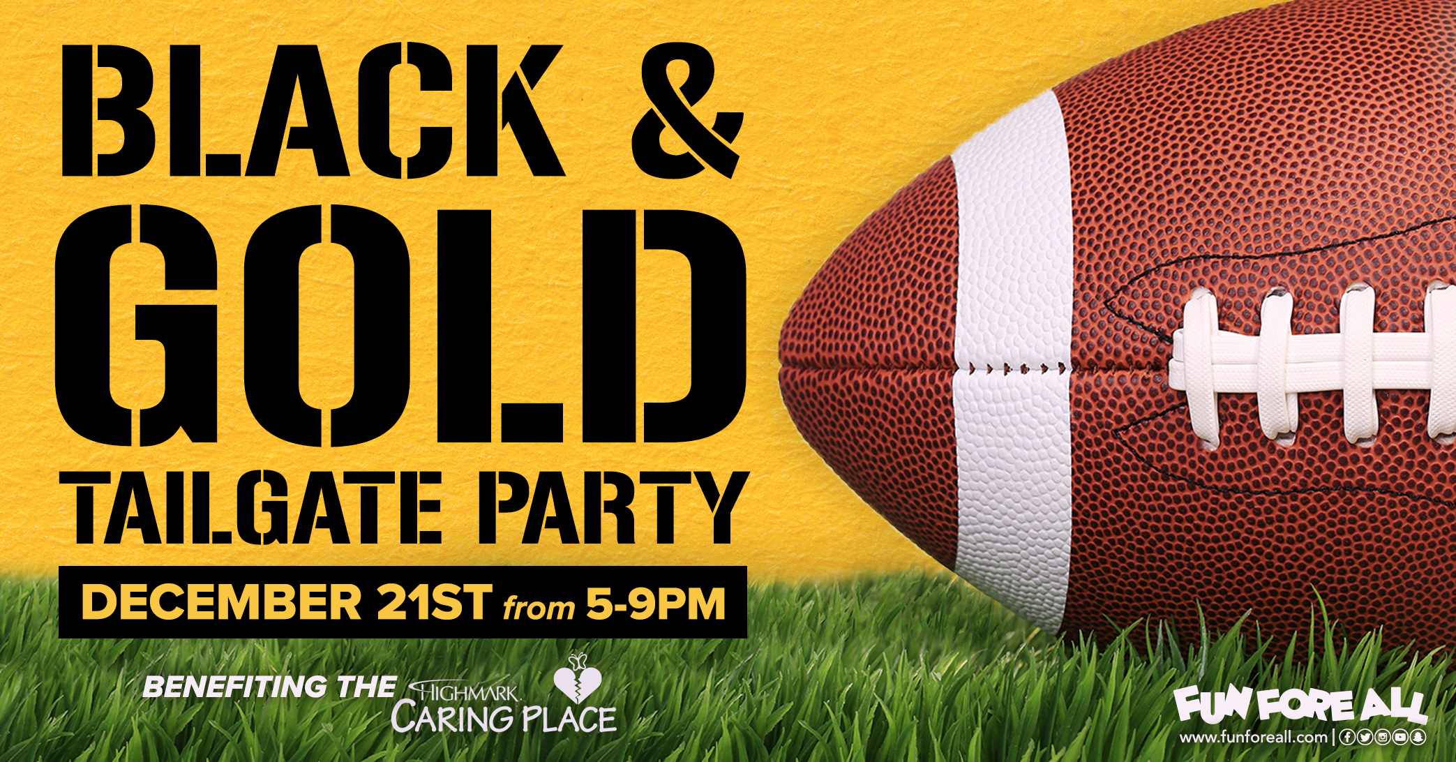 BLACK & GOLD TAILGATE PARTY INVITE BANNER (2018)