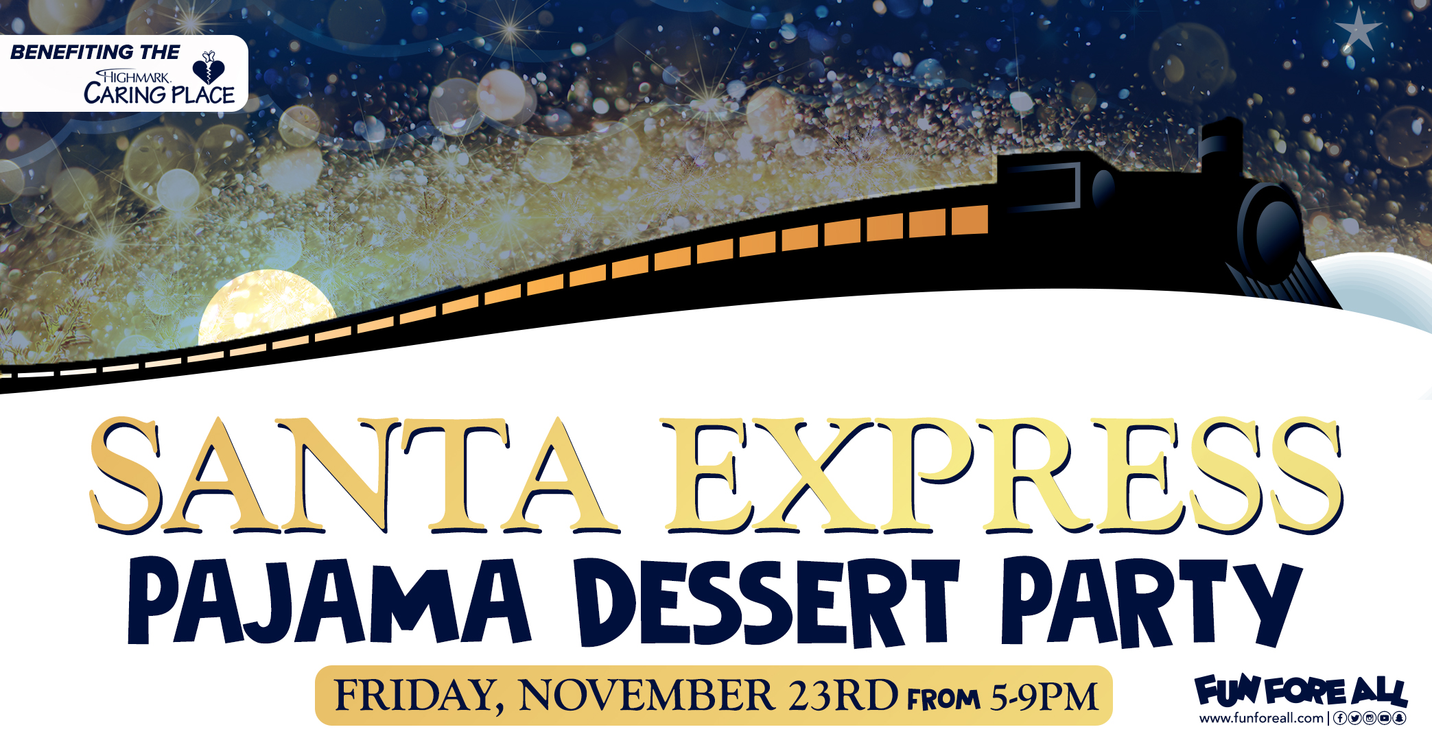 SANTA EXPRESS PAJAMA DESSERT PARTY INVITE BANNER (2018)