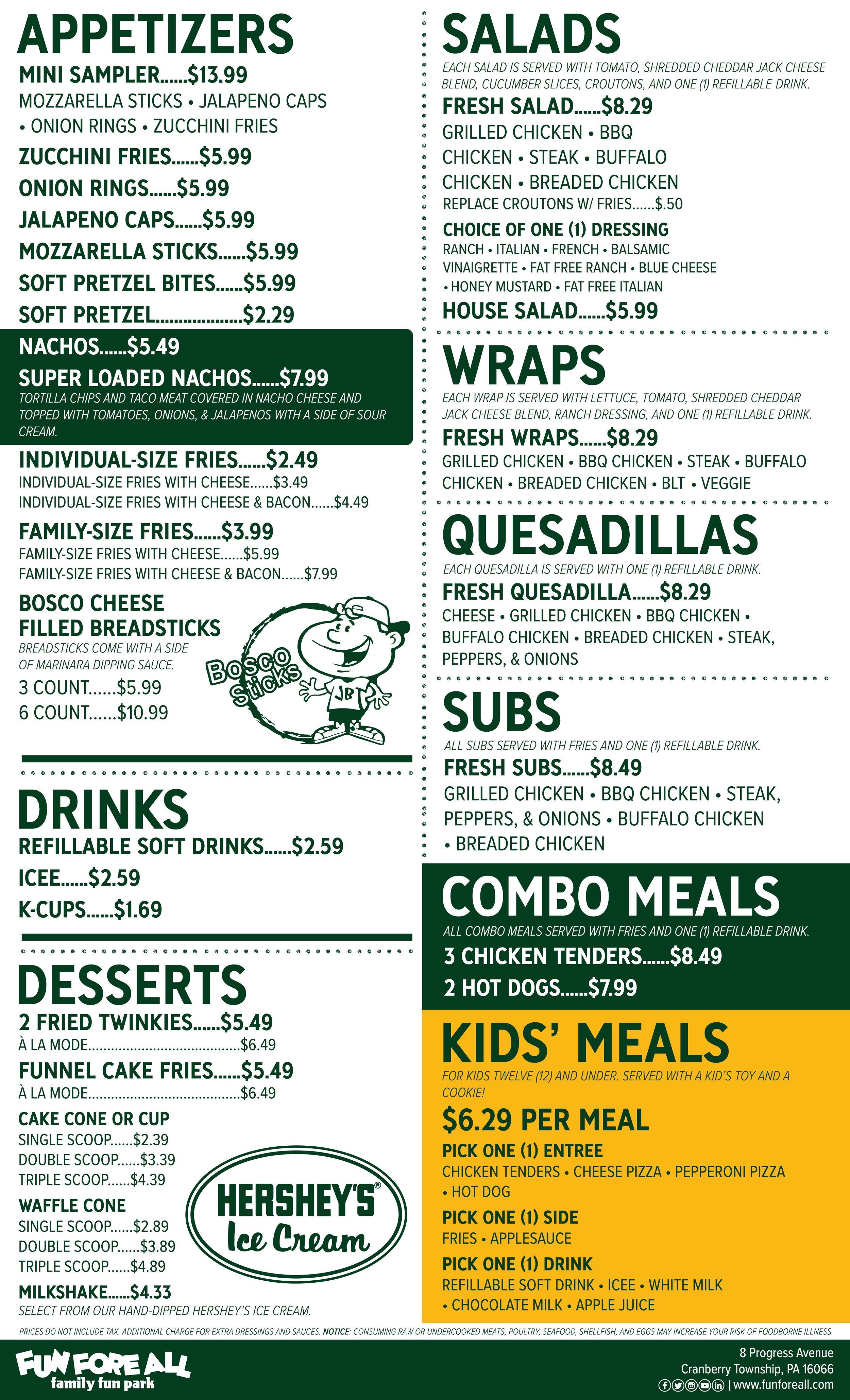 FUN FORE ALL EATERY MENU - BACK (2019)