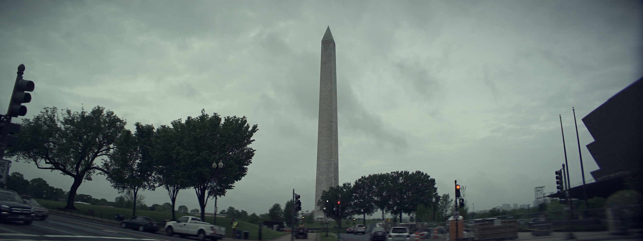 Elite 24.5mm anamorphic | Washington D.C. - Taken from the front windshield of my grip truck. Edge cropped to 2.66:1 . I later slid the image left, to center the Washington Monument - hence the visible vignette frame right. T.2.1. Photo by Keith Nickoson.