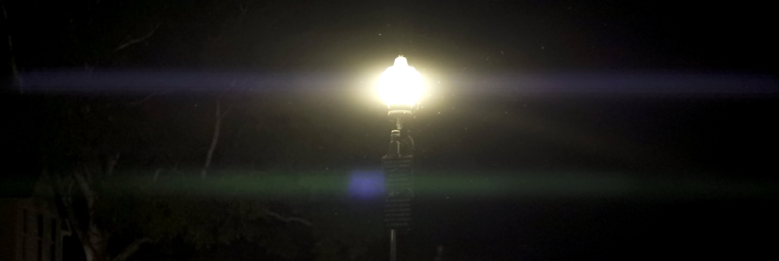 Lomo 100mm anamorphic lens | A streetlamp at Mission Point Resort on Mackinac Island creates this flare. Photo by: Keith Nickoson.