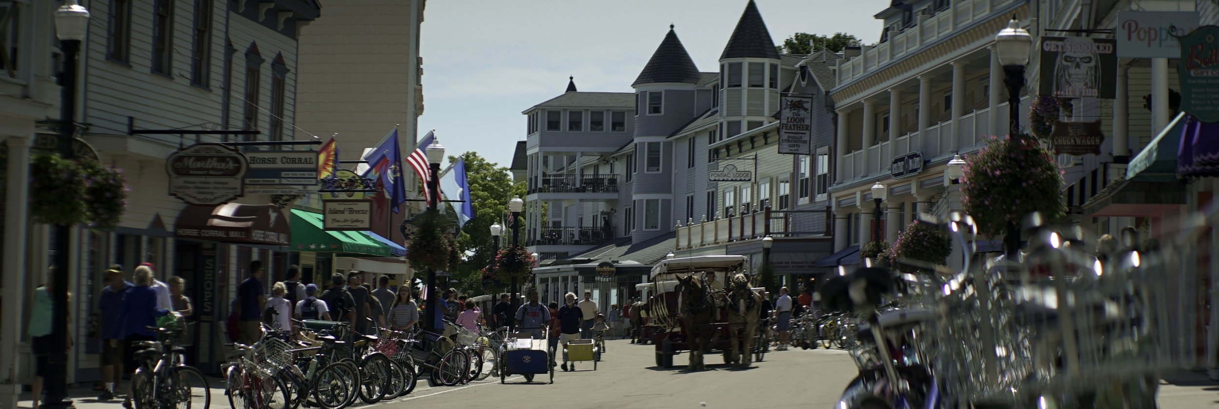 Lomo 100mm anamorphic lens | Downtown Mackinac Island, MI - Photo by: Keith Nickoson