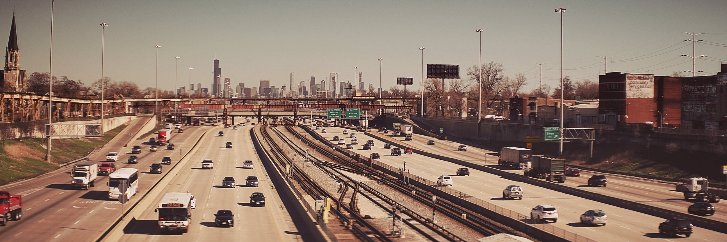 Lomo 75mm Anamorphic Lens | The Chicago skyline from the window of our westbound Amtrak sleeper. Stopped down to a T4 for this picture. - Photo by: Keith Nickoson