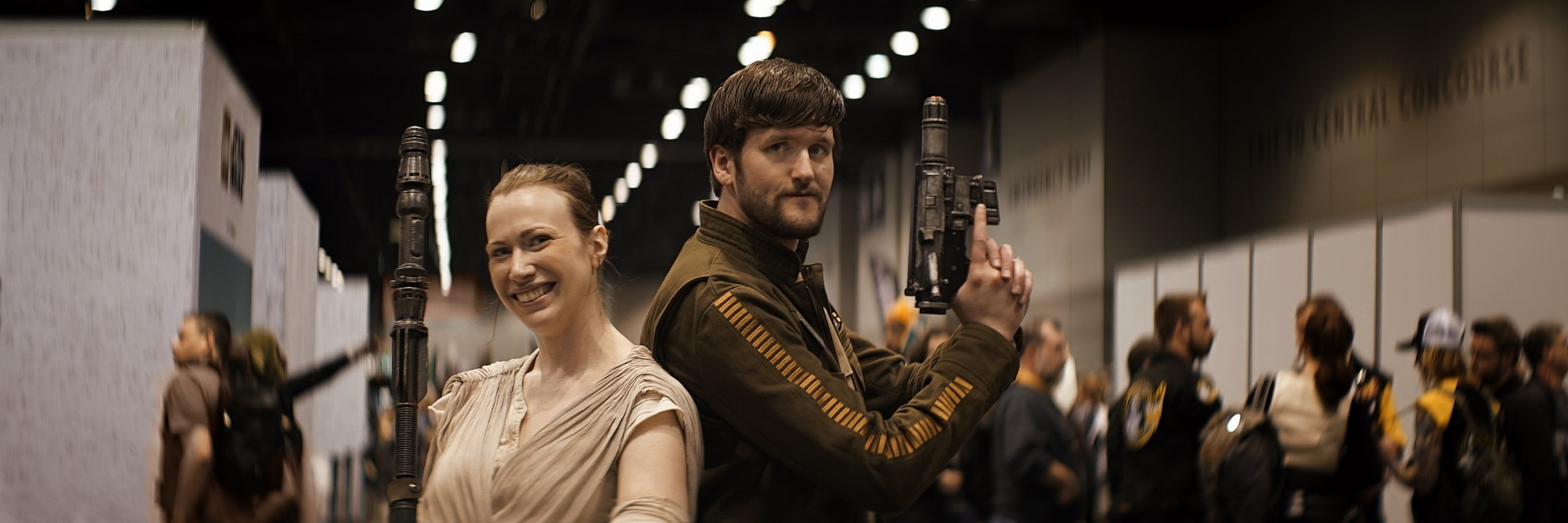 Lomo 75mm Anamorphic Lens | Star Wars Celebration Chicago - SWCC | Jenna Hunt (@jeniwan_kenobi), and Laurence Blackledge (@latchwooking) of the Great Lakes Rebel Legion show off their costumes on the expo floor in McCorrmick Place, Chicago IL. You can find them on the web    here    - Photo by: Keith Nickoson