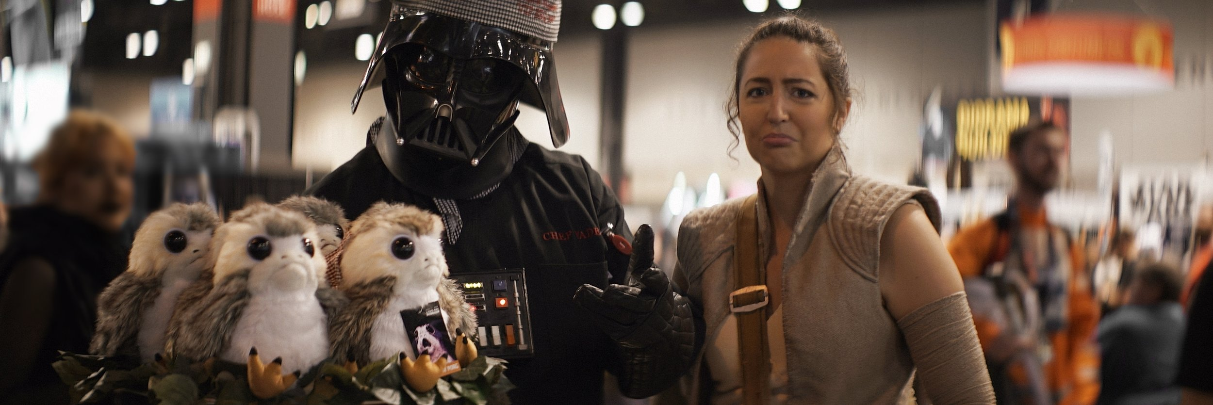 Lomo 75mm Anamorphic Lens | Star Wars Celebration Chicago - SWCC | Chef Vader with a platter of Porgs for dinner. - Photo by: Keith Nickoson