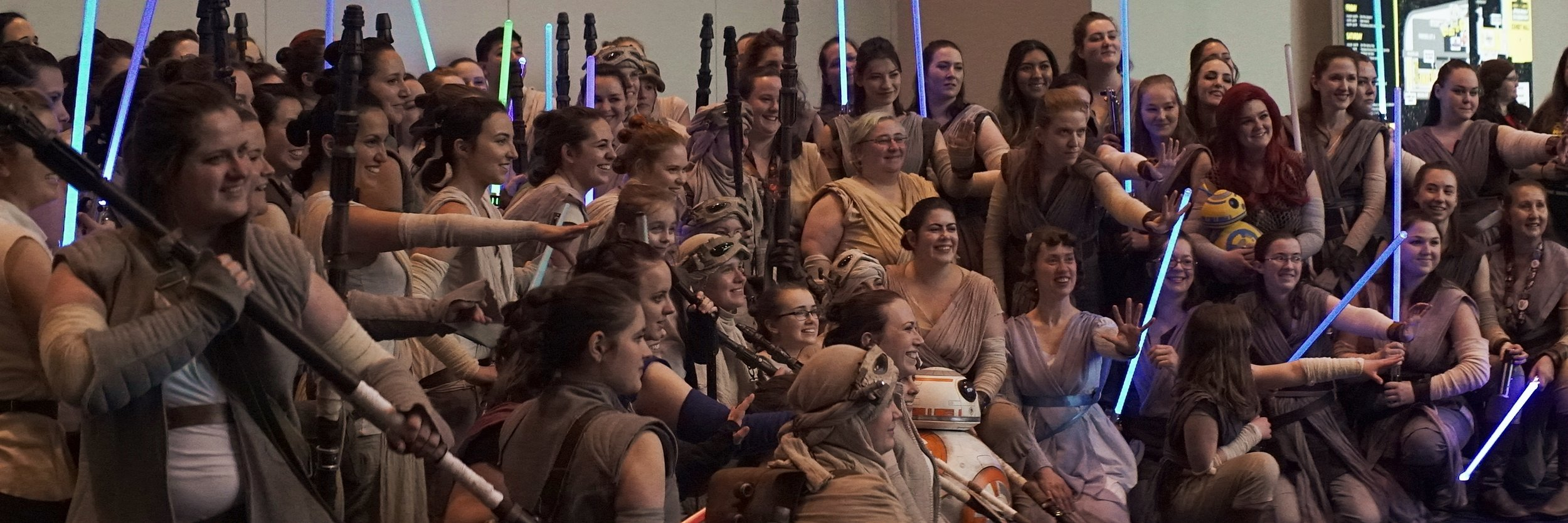 Lomo 75mm Anamorphic Lens | Star Wars Celebration Chicago - SWCC | A gang of Rey girls at McCormick Place. Olivia's in there somewhere. - Photo by: Keith Nickoson