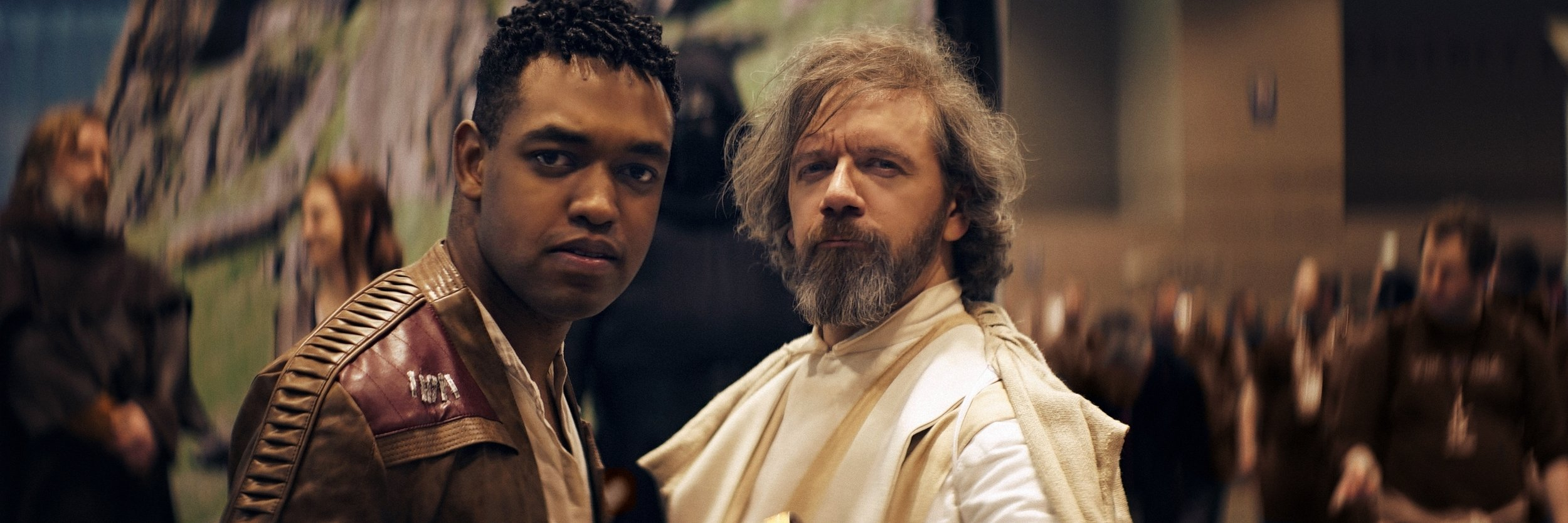 Lomo 75mm Anamorphic Lens | Star Wars Celebration Chicago - SWCC | Finn and Luke Skywalker join forces for this pic. - Photo by: Keith Nickoson