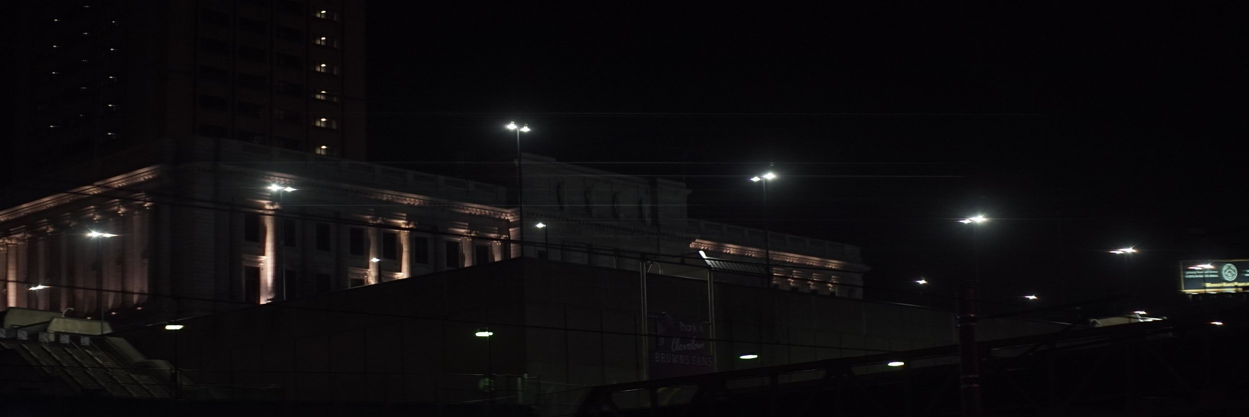 Lomo 75mm Anamorphic Lens | A few skinny flares across from the Amtrak station in downtown Cleveland, OH. - Photo by: Keith Nickoson