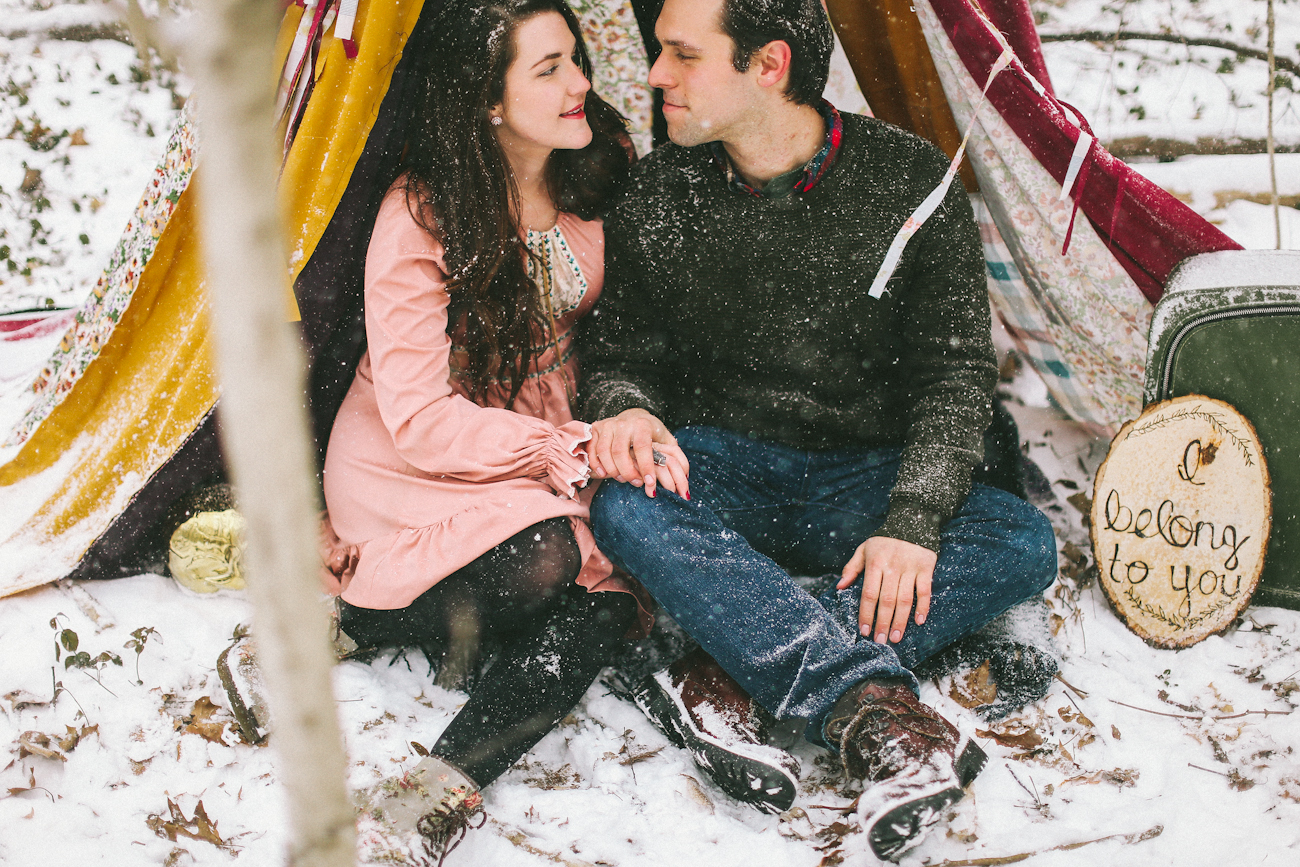snowy engagement in cherokee park louisville