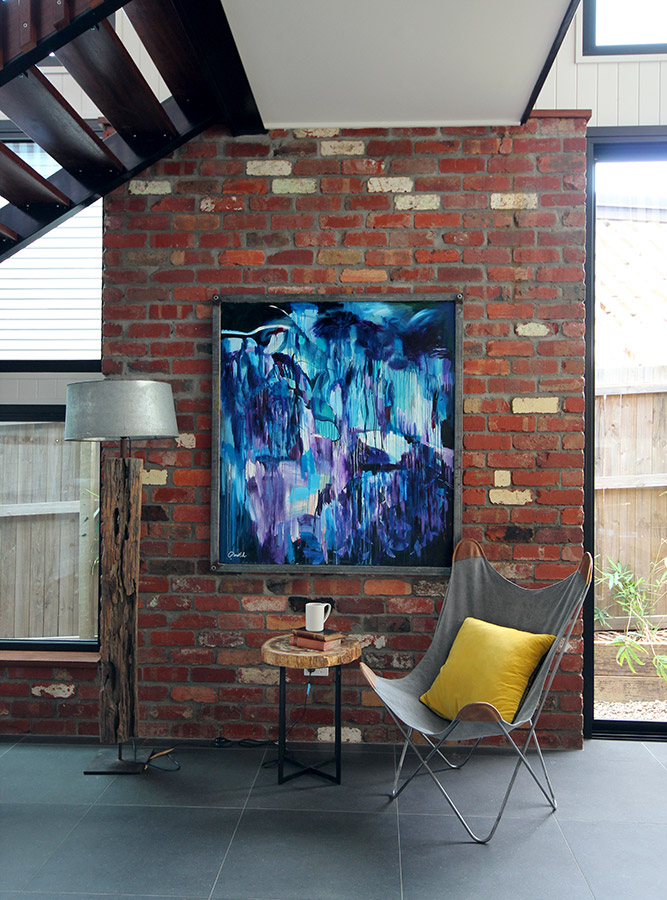 """""""Purple Rain"""" hangs in a raw steel recycled frame in the 'barn' in Chelmer. The new owners of the house ended up purchasing this piece."""