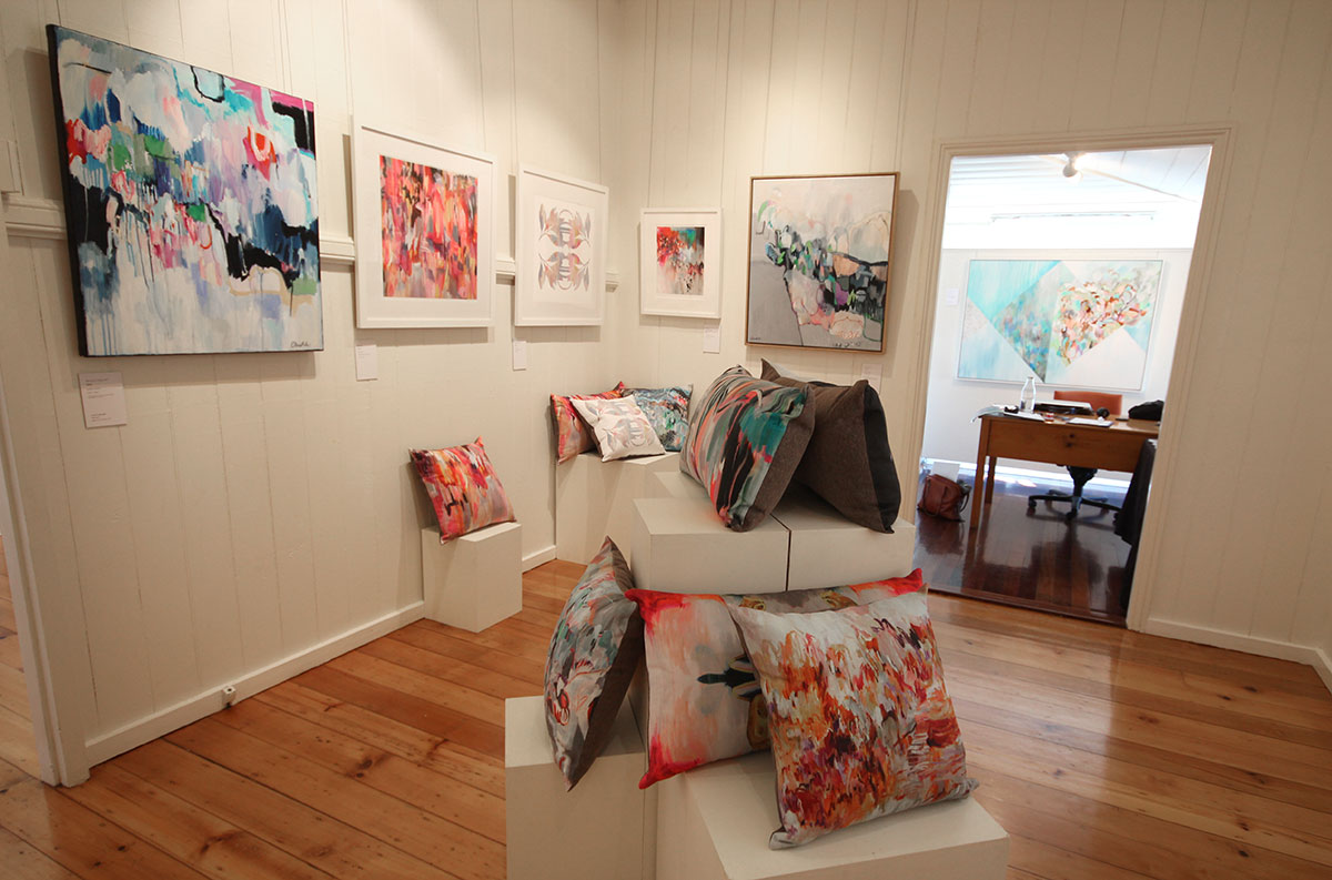 The back room was dedicated to older prints and paintings as well as my new range of cushions which sold really well!