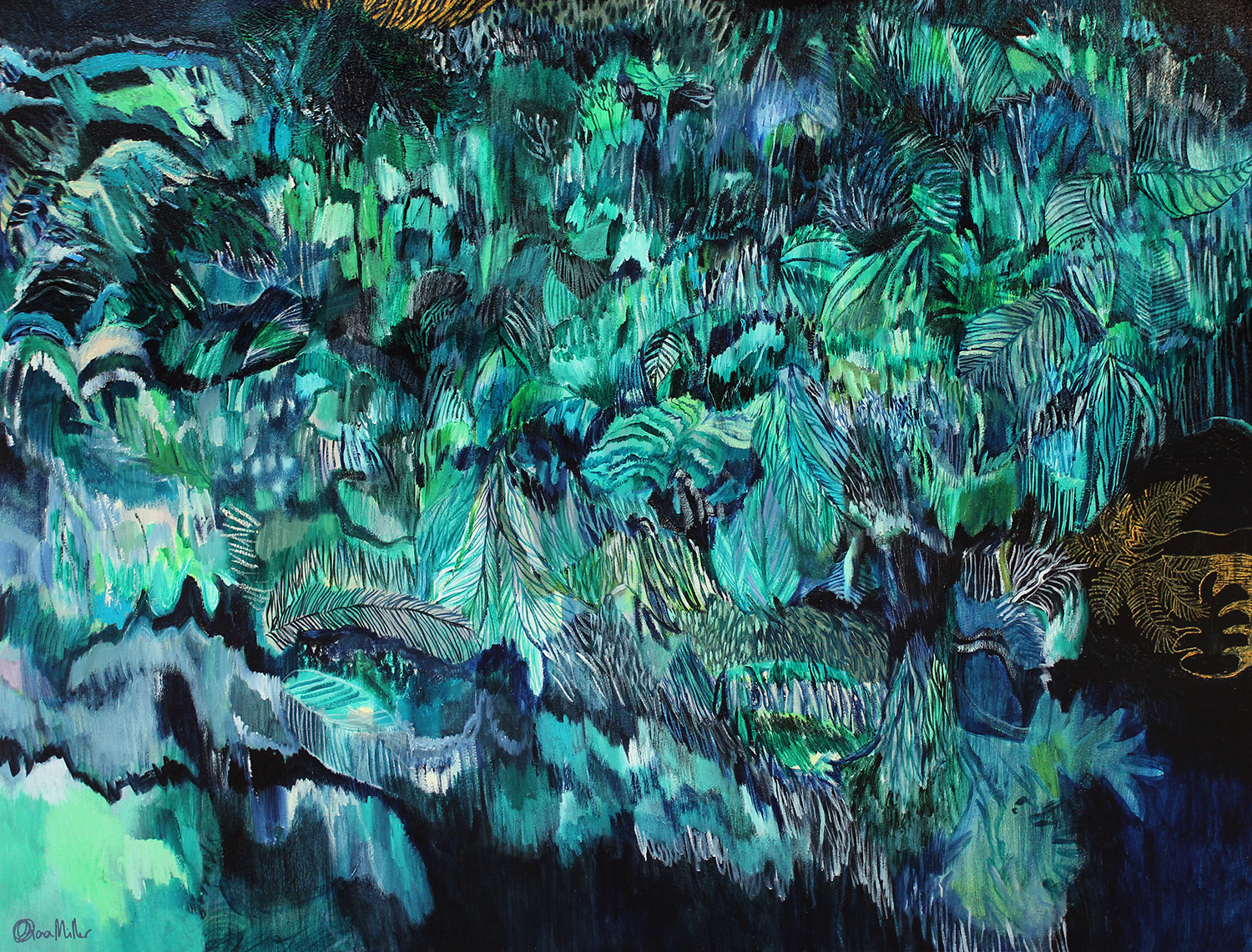 Life is an Adventure  120cm x90cm  SOLD  This painting takes us on an adventure through thick undergrowth and jungle like vegetation. It represents the journeys we take through our lives and the paths we choose to explore. Sometimes there is treasure to be found.