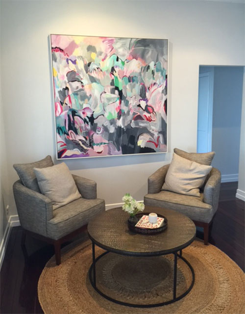 """Lost in Dreaming"" hangs here in the gorgeously stylish home of Bev Morris in Coorparoo, Brisbane."