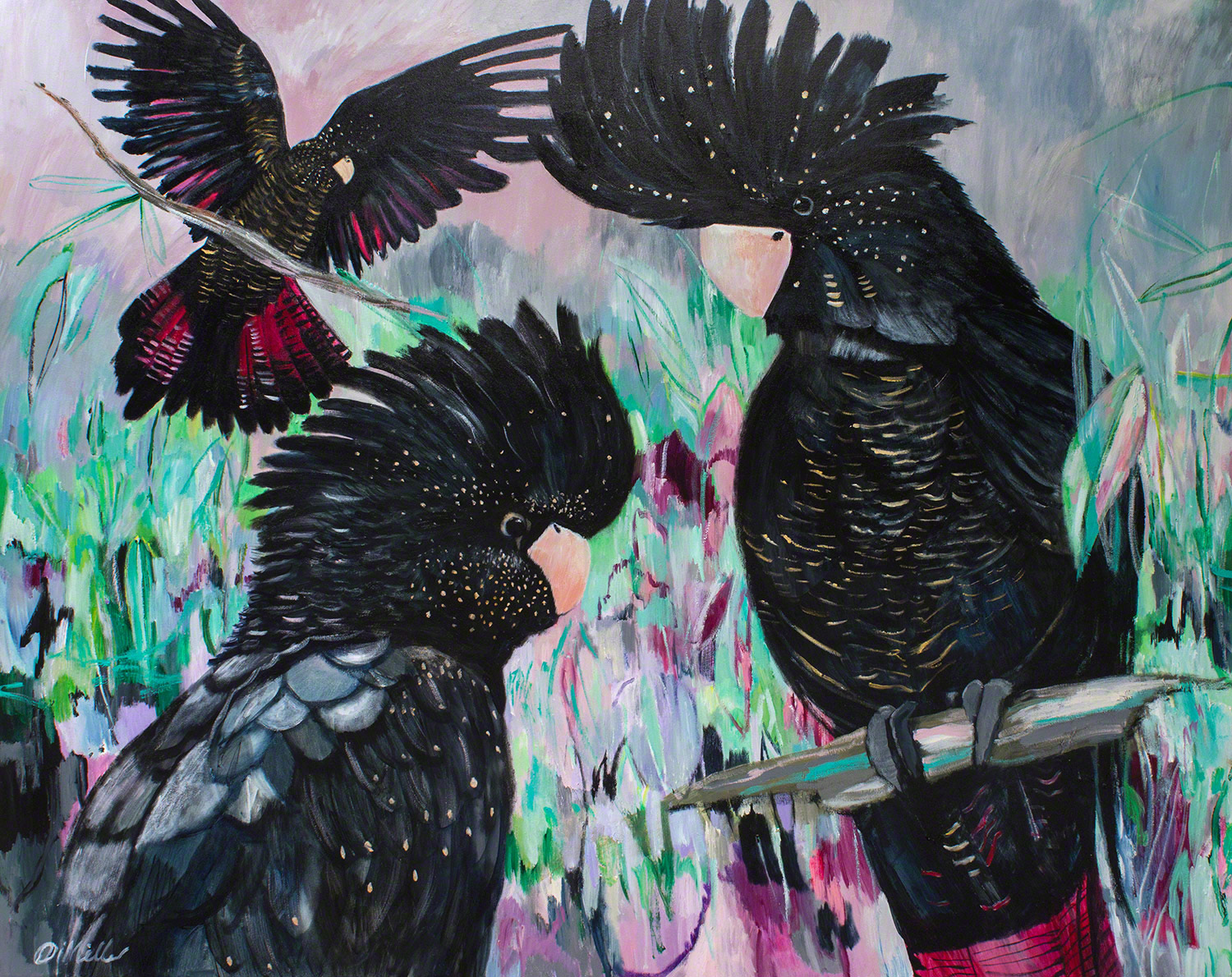 My trio of black cockatoos, one of 2 pieces for Alison and her husband in Albury, NSW