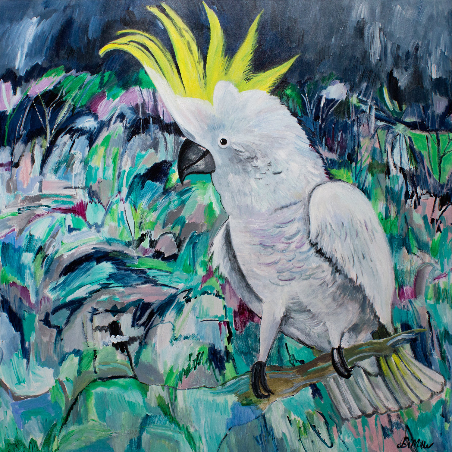And the white cockatoo that sits alone in this piece, watching his friends down the hallway!
