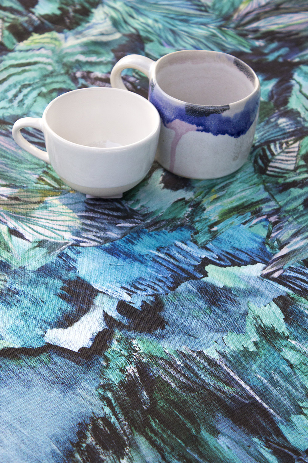 My tablecloth styled with cup ware by  Shannon Fricke