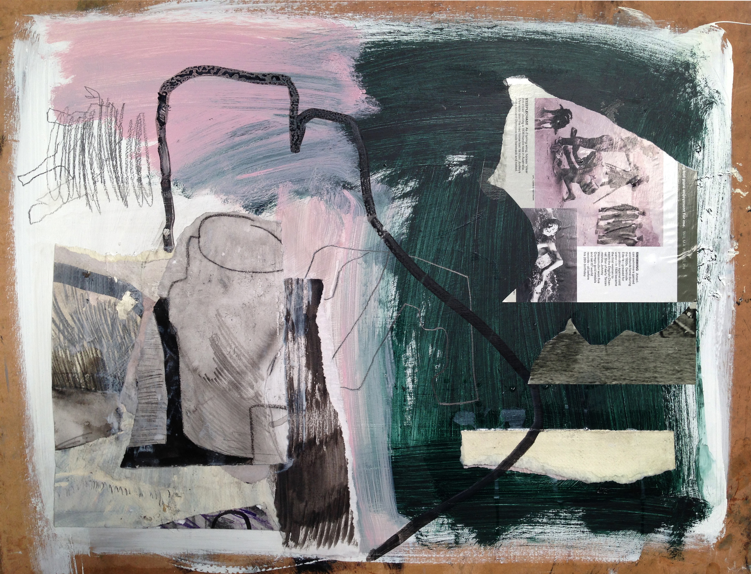 Inspired by the work of Robert Rauschenberg (who I had not heard of, but am now a huge fan of)this one was also pulled together very quickly. Paint, collage, ink, graphite on board.