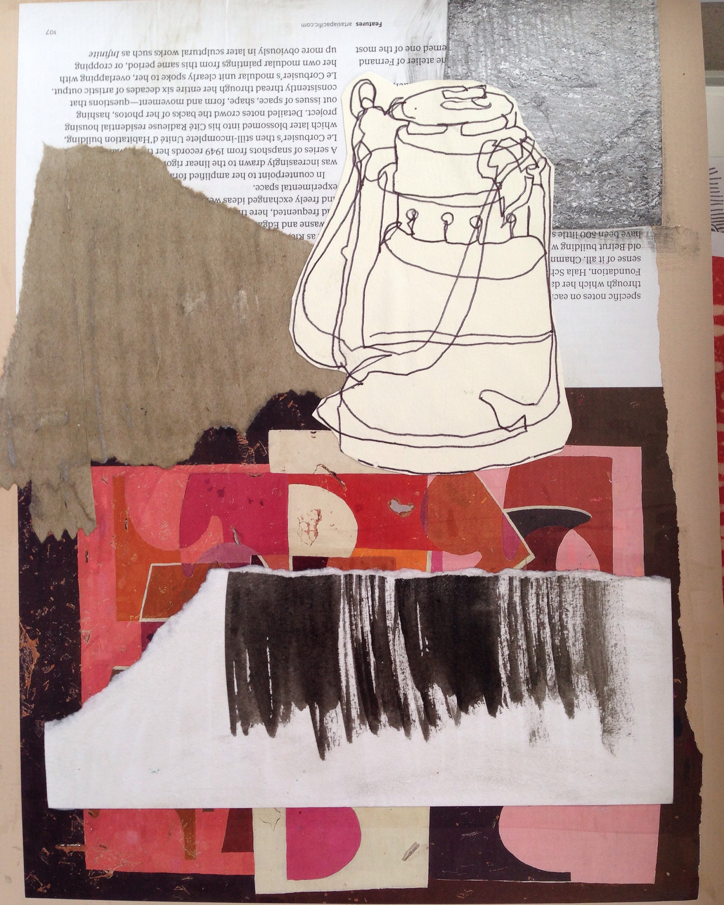 Magazine paper, torn ink marks on paper, brown paper packaging and ballpoint pen sketch on mat board