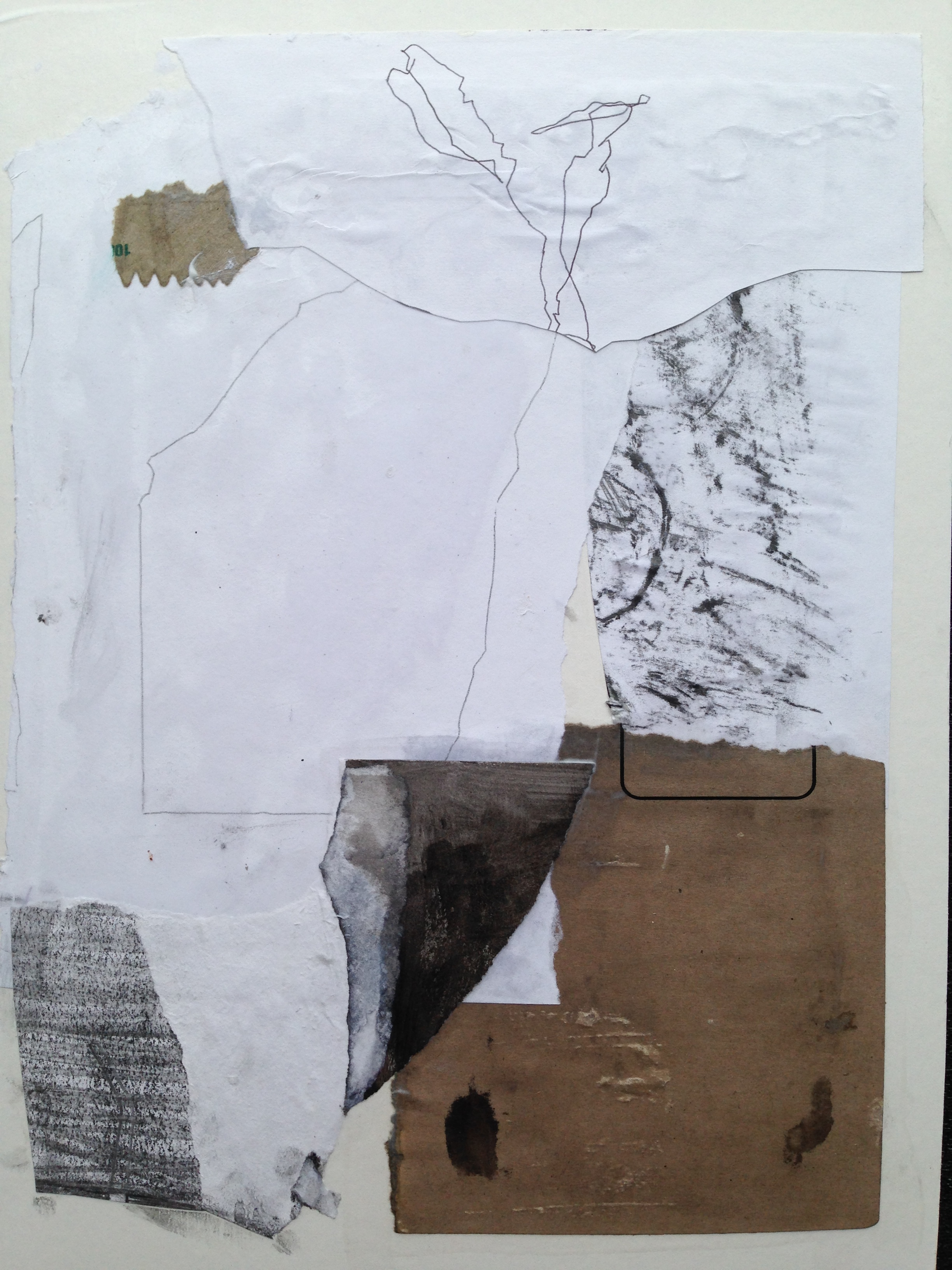 Blind contour drawing on bond paper, torn papers from old collages and brown paper envelope