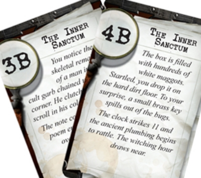 Clue Cards lead Players linearly towards the pre-set victory conditions in  Mansions of Madness , chosen before play by the Keeper player. ( Michael Fralish )