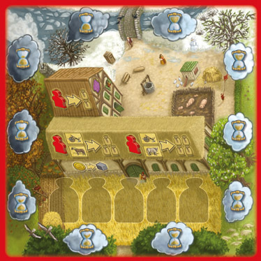 The game Village  does a good job of tracking time thematically, in the art, and in most of the mechanics. ( Wolf Wittenstein )