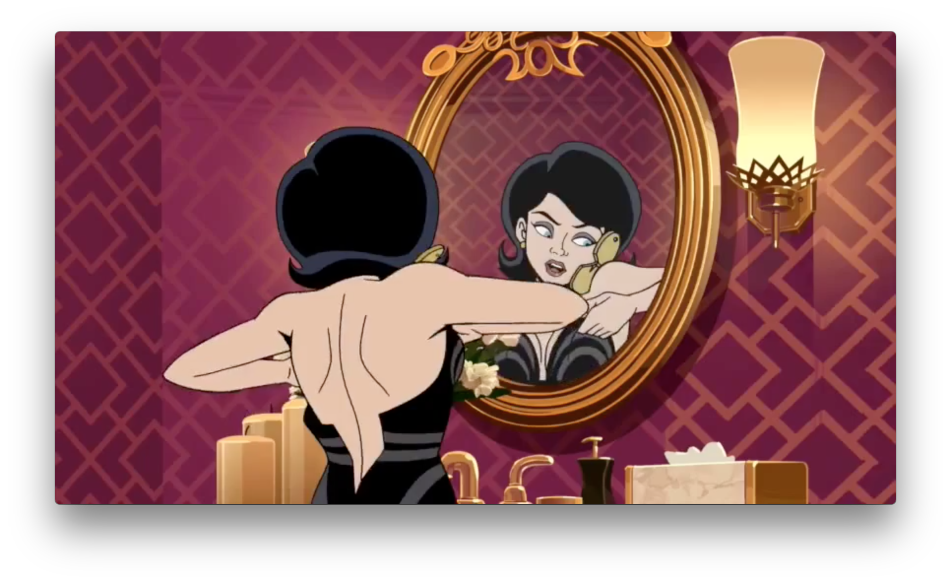 Frankly, I'm getting kind of sick of these fan-service-y shots of Dr. Mrs. The Monarch, especially in the season trailers. She's one of the most capable characters in the whole Venture universe. She doesn't always need to be dressing or undressing in the show's ads. But this does show she's getting ready for some fancy outing, in a fancy new dress, in a fancy place. So it seems she's doing well, likely with the Guild's help.
