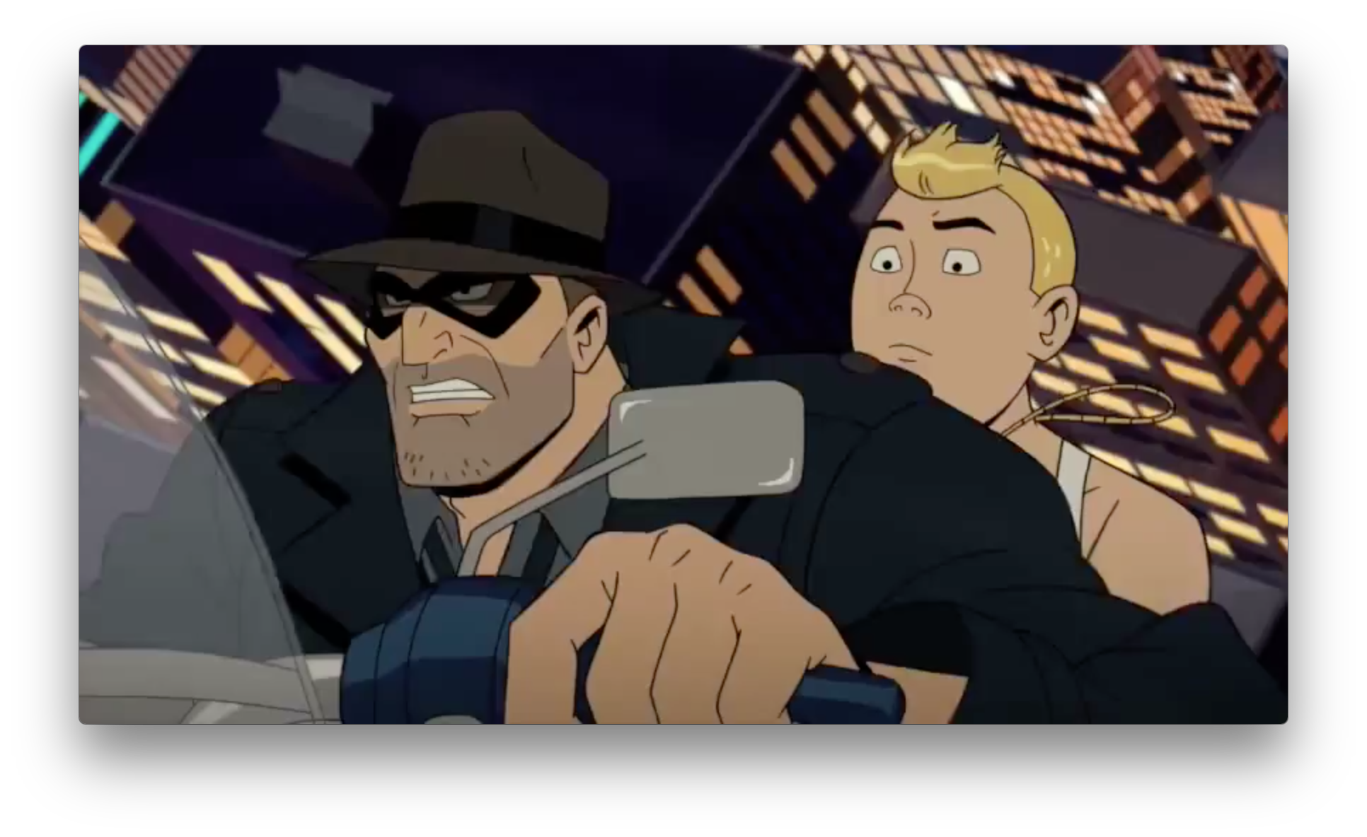 Casear-cut Hank rides on the back of some masked, Indiana Jones type's motorcycle. Is this the start of yet another Hank boy crush on a powerful older man? Let's just hope it goes better than Captain Sunshine.