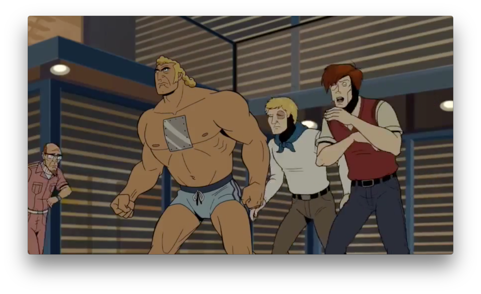 And finally another view on the house. This is one of the most interesting shots in the trailer for me. Brock is alongside what looks like Ward, Watch, and Gen. Gathers(?) dressed up as old school Dean, Hank, and Doc. It hints to me that there are some sort of joint training exercises or simulations run with the cooperation of OSI and the Guild, teasing the more conspiratorial ends of the Venture universe.
