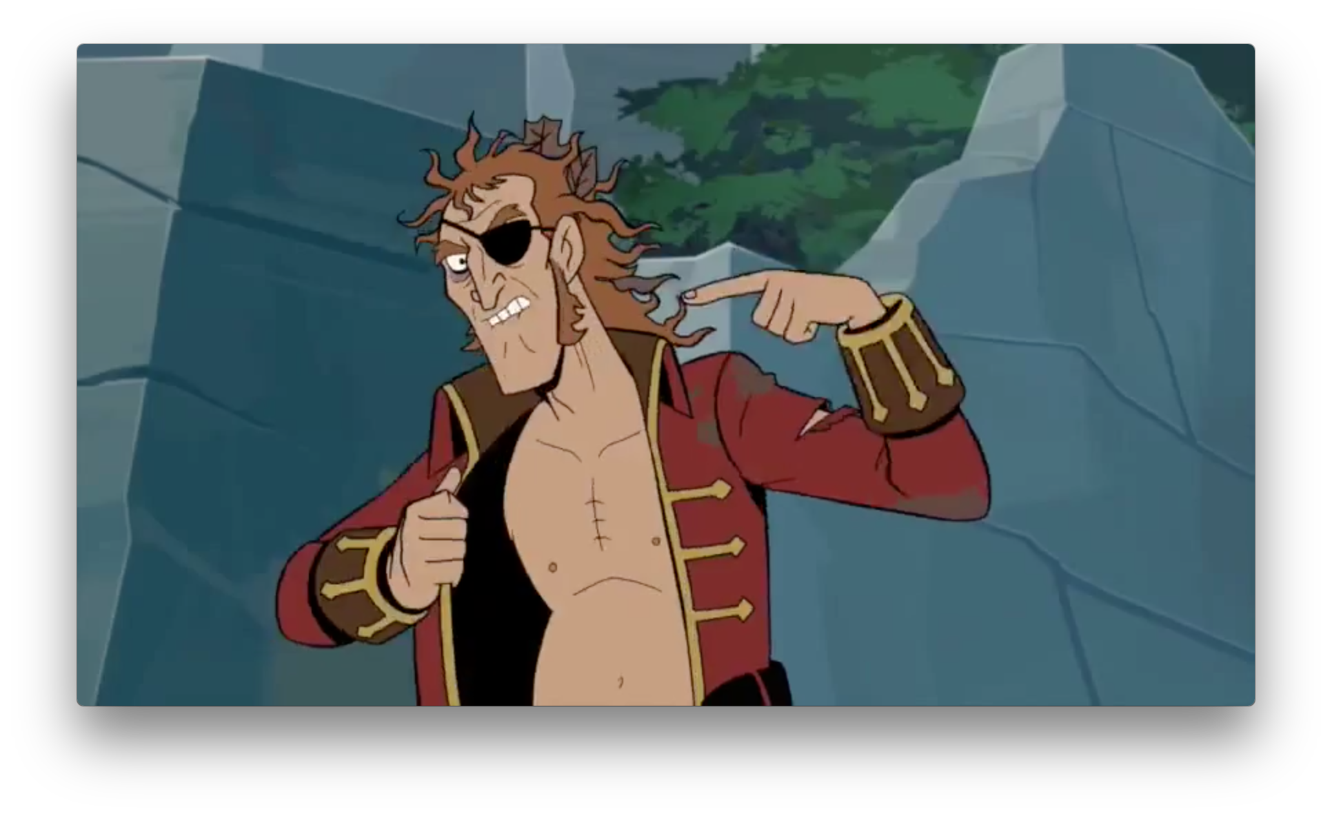 The Pirate Captain doesn't look like he's dealing with J.J.'s death very well. The chaotic hair, strained face, and endless pointing to the neck are signature signs of a dart addict in relapse.
