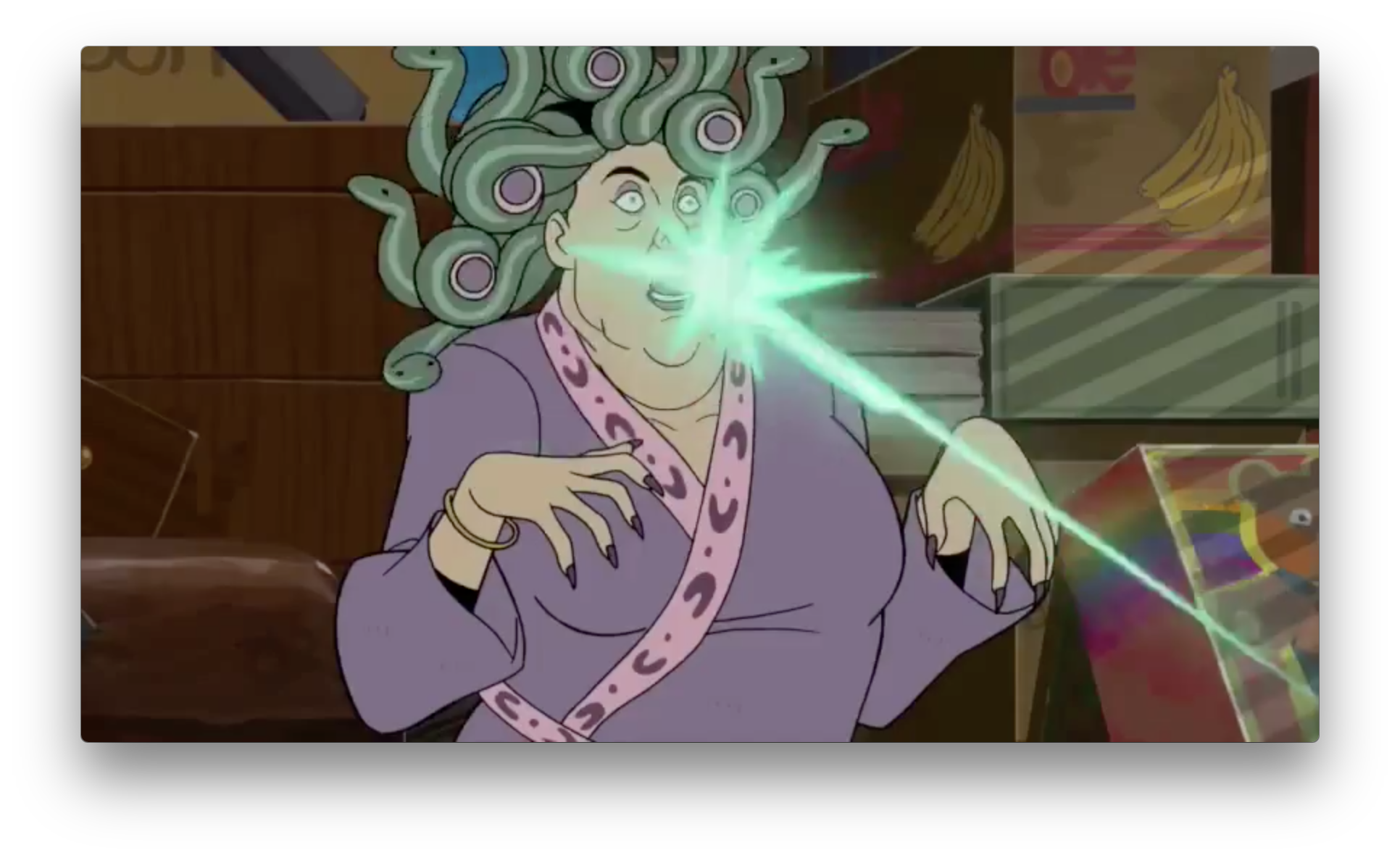 Another new character, a medusa, gets a a green laser to the face. The boxes show us this is also in the Monarch's brownstone. So this character is likely with Gary in the shot seen in the epilogue with the same green laser, unless there's a shapeshifter or something.