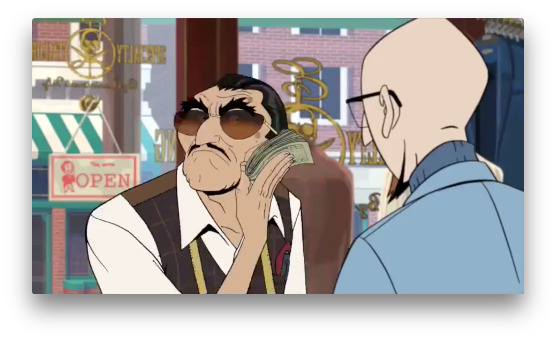 Dr. Venture pays a lot to a closed specialty tailor. Perhaps the beginnings of the family's fancy new outfits? Apparently,  he's a Sicilian named Enzo, and Doc has some history with him.