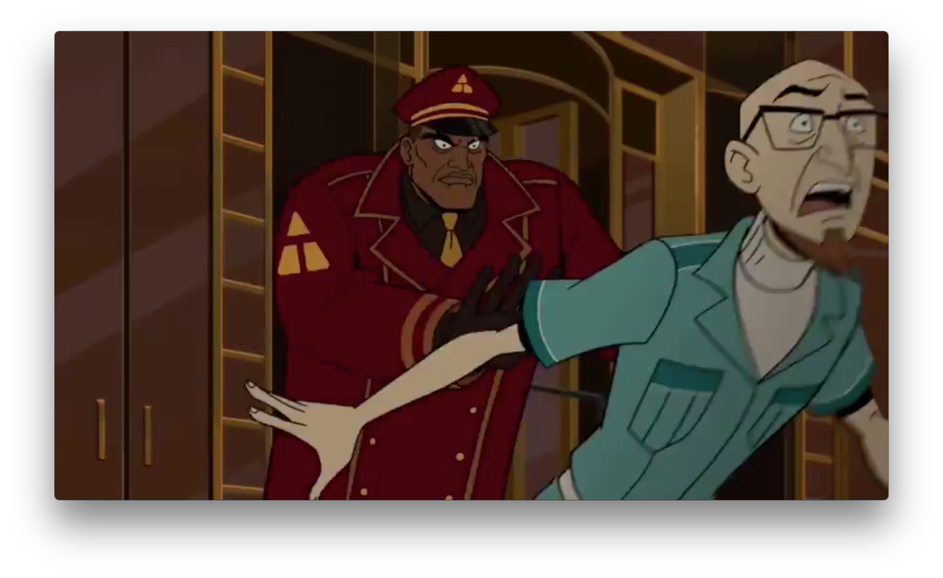 Doc getting thrown out of a swanky place isn't new either, but the emblem on the doorman's uniform is. Whose organization would have a T and a triangle on it?