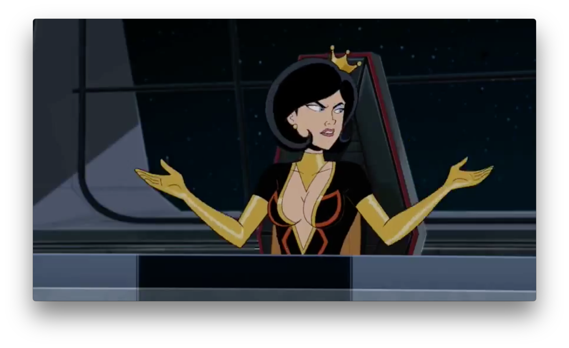 Dr. Mrs. The Monarch, still in her old costume,probably just taking the lead in Guild business in the new Council of 13 aboard Meteor Majeure?