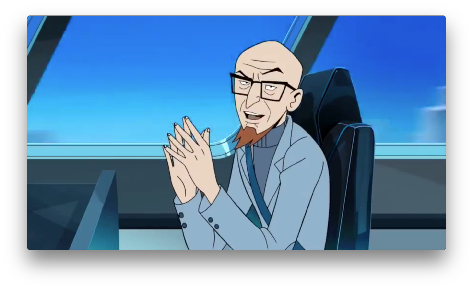 Dr. Venture on a train? Can't imagine he'd take a regular train at this point, so perhaps it's some rail system at a Venture Techno Industries compound of some sort.