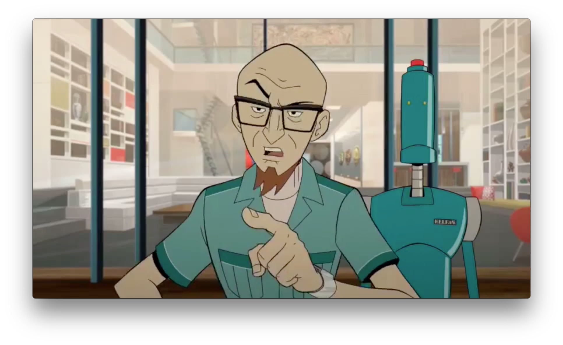 Dr. Venture scolds someone in front of a fancy house. This might be the new Venture house, as it shows up in several different shots. His communicator watch looks upgraded as well, not to mention the new speedsuit.