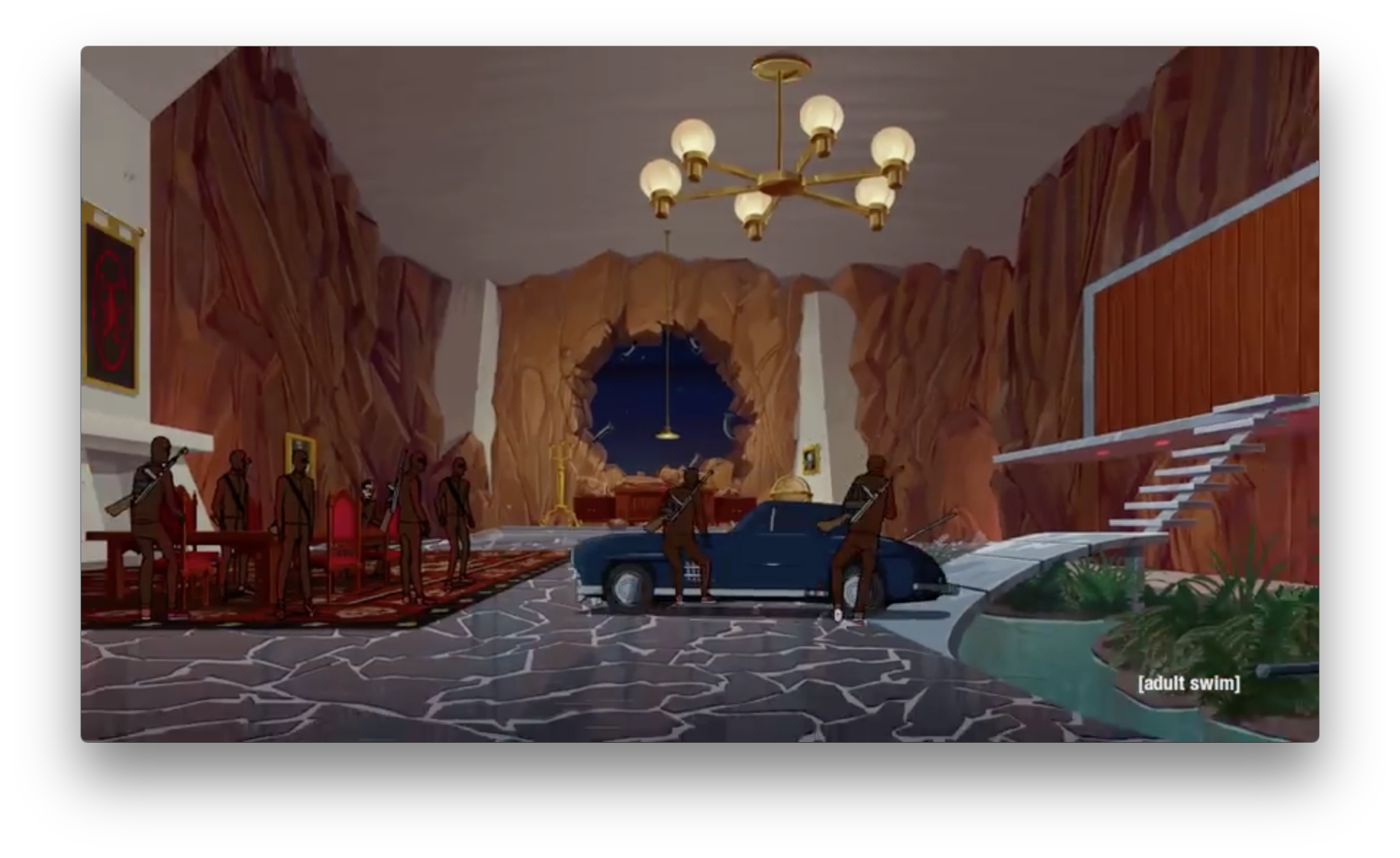 Another flashback to the glory days of Team Venture as they raid Scaramantula's lair on Spider Skull Island. Since when was there a window in the lair for them to conveniently crash their car through? (Did they drive to the island?!)
