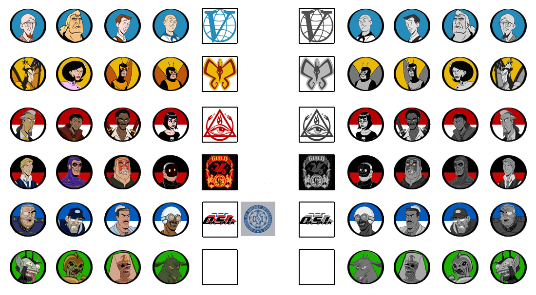 """Character and Faction Token drafts. I needed a """"dormant"""" side as well for kidnapped or hidden Characters. (Don't tell anyone that Chupacabra isn't exactly alive in that cut-and-pasted pic!)"""