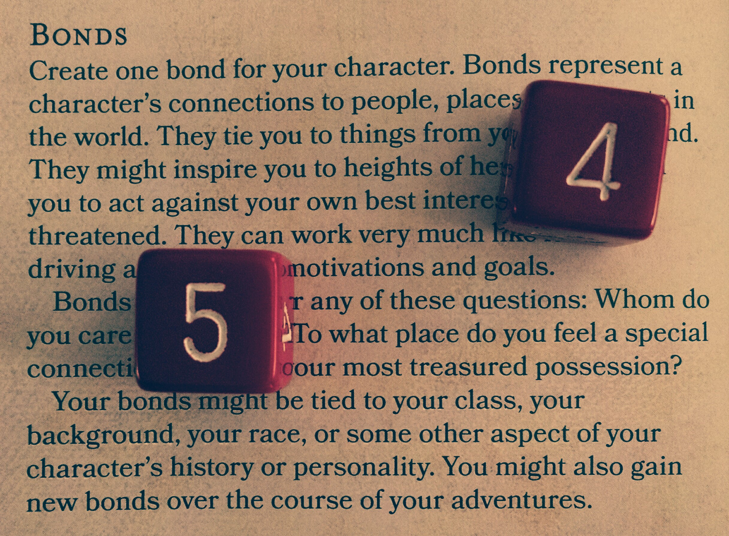 """""""Bonds"""" section in the Player's Handbook with red dice and a classy filter."""