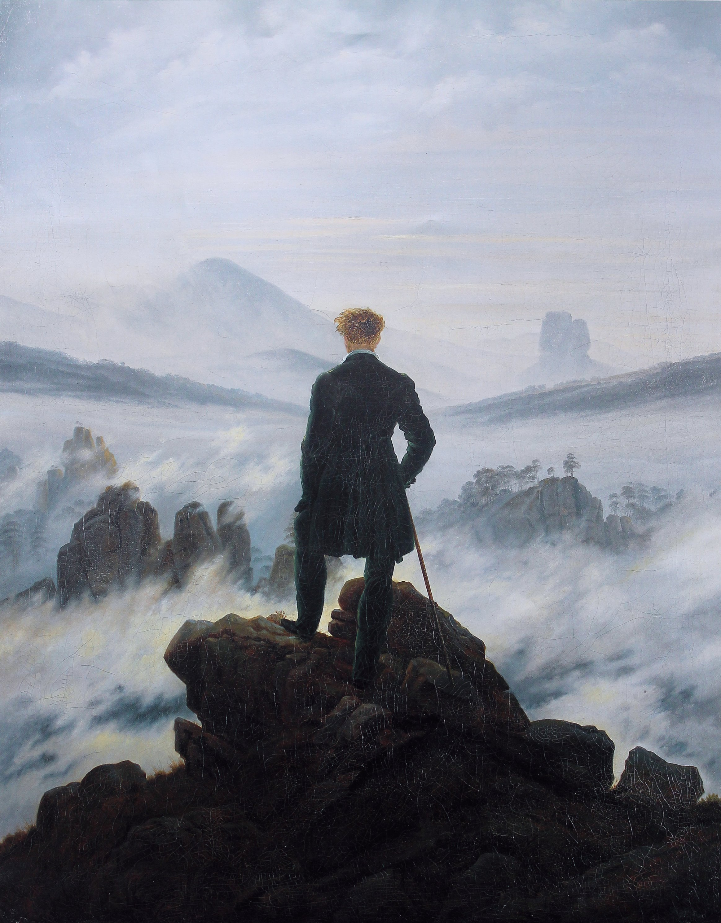 An uncertain future awaits those who cross into the unknown.  Wanderer above the Sea of Fog  by Caspar David Friedrich, 1818