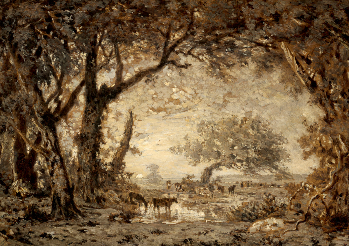 Sunset from the Forest of Fontainebleau,Theodore Rousseau, 1848