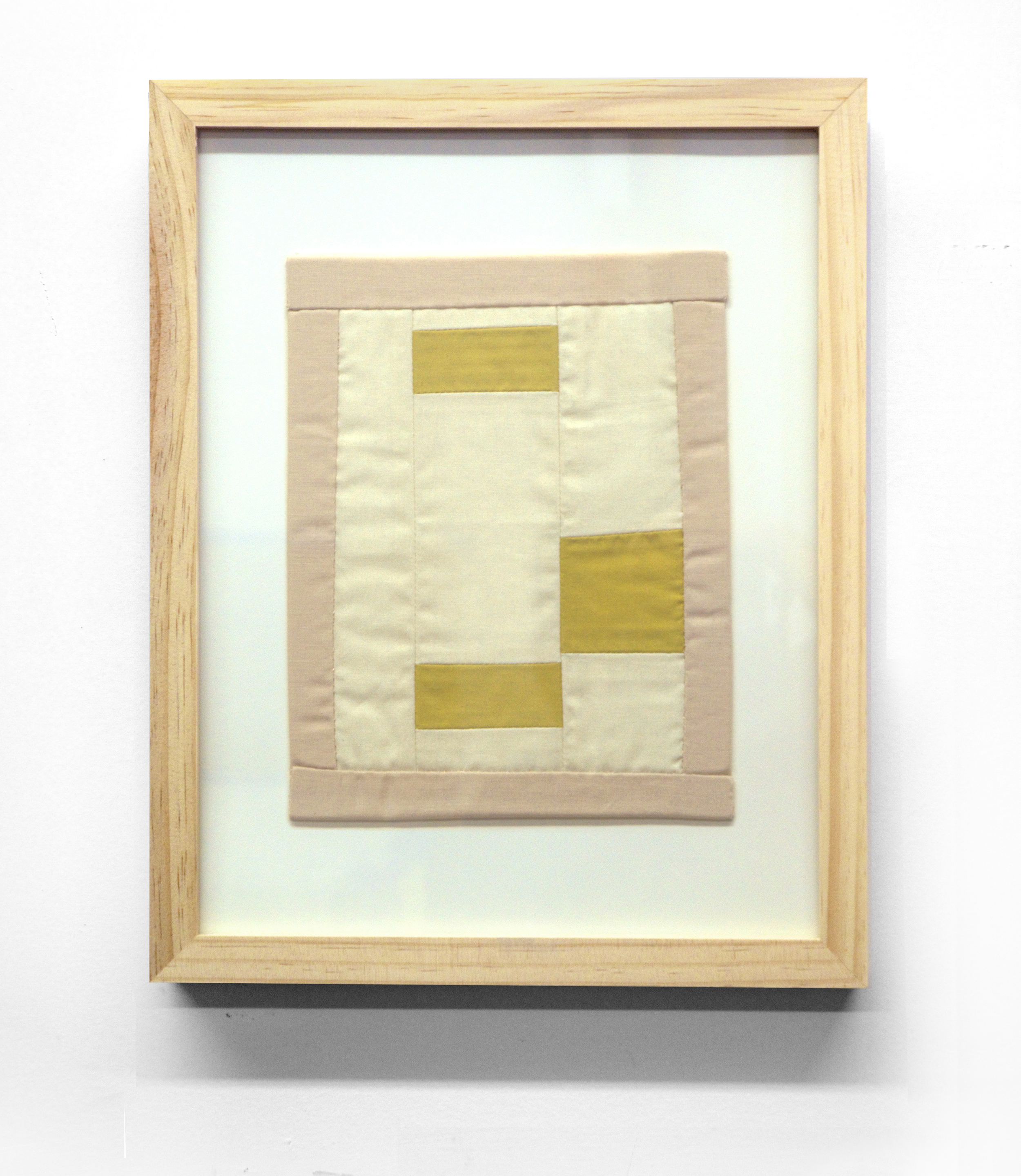 MINI (OCHRE) cotton quilt and frame   11 x 14 inches,  2014