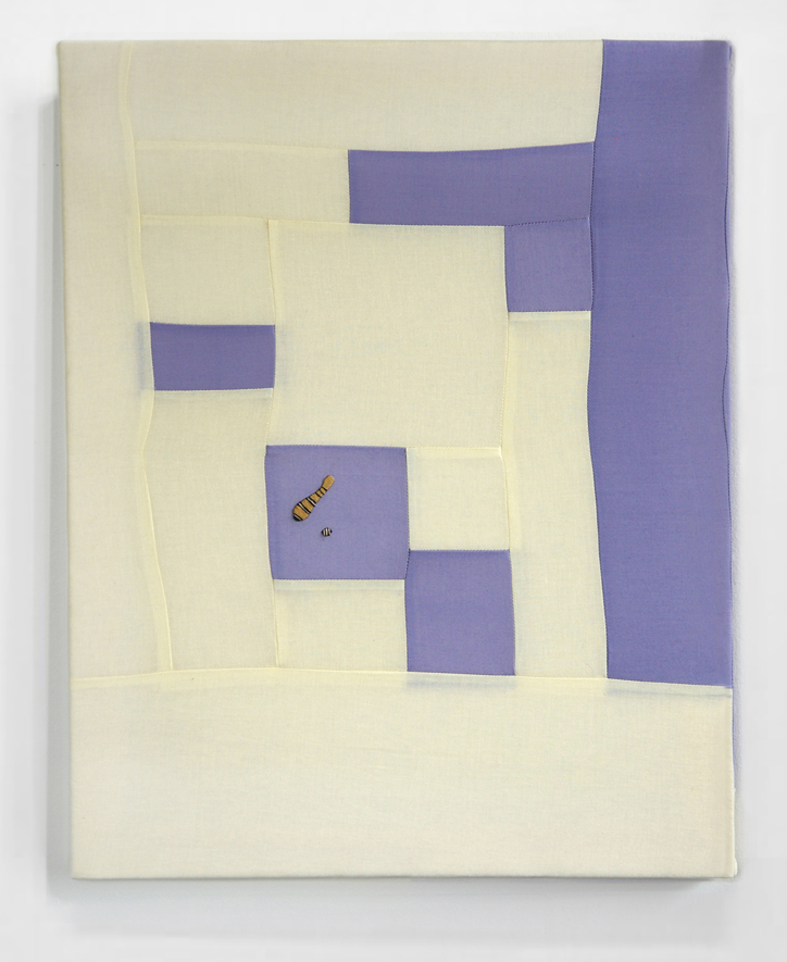 FLOWS + GAPS  (PURPLE)   cotton quilt with embroidery on frame   20 x 25 inches,   2014