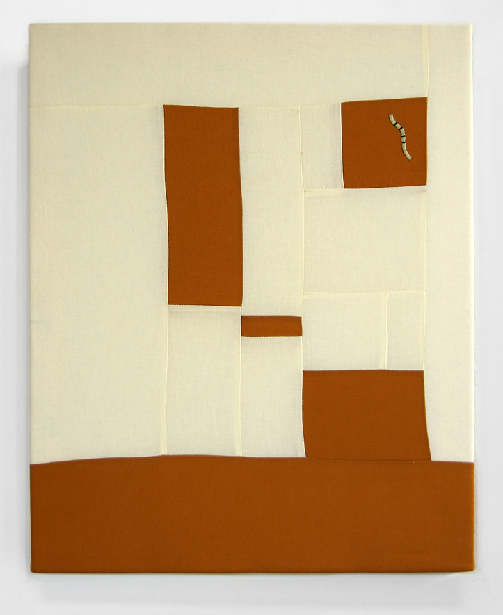 FLOWS + GAPS (BURNT UMBER)   cotton quilt with embroidery on frame   20 x 25 inches,  2014