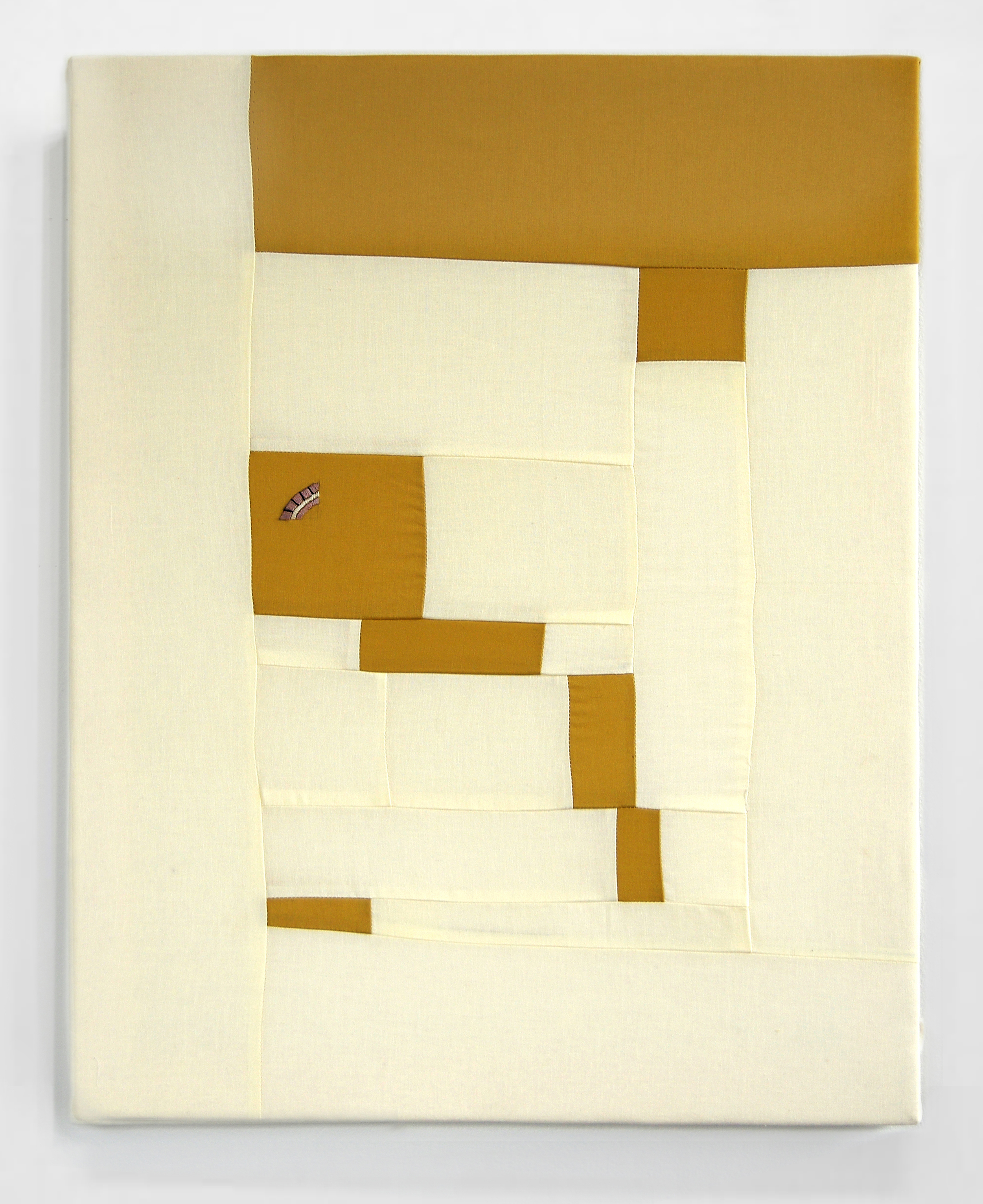 FLOWS + GAPS (OCHRE)   cotton quilt with embroidery on frame   20 x 25 inches,  2014